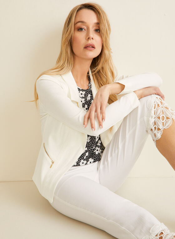 Vex - Notch Collar Open Front Jacket, Off White