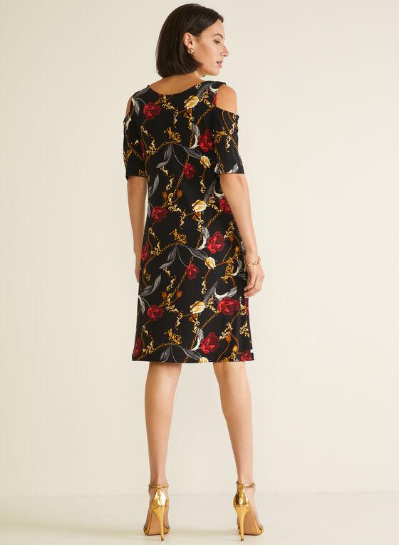 Floral Print Cold Shoulder Dress, Black