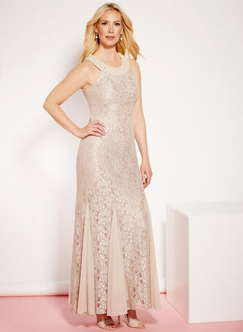 Glitter Lace & Pearl Mermaid Dress, , hi-res