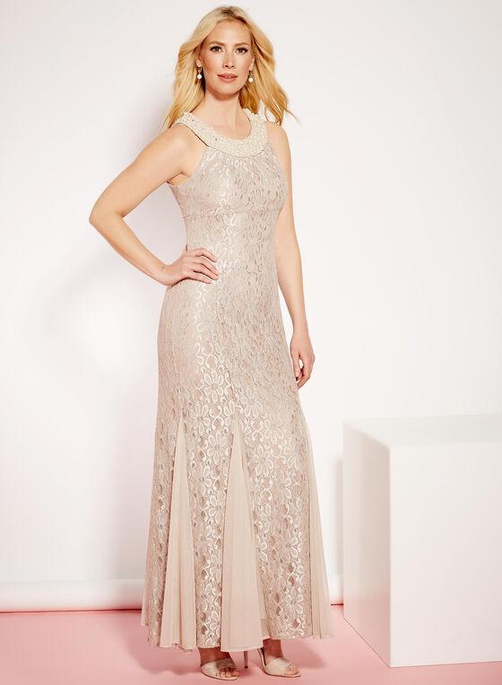 Glitter Lace & Pearl Mermaid Dress, Off White, hi-res