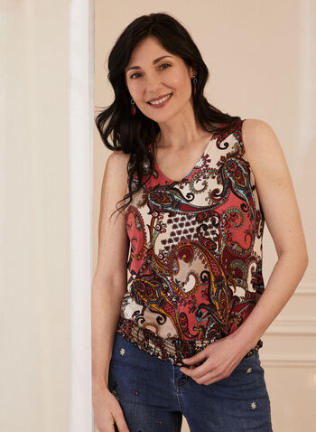 Paisley Print Sleeveless Top, Orange,  top, blouse, sleeveless, v-neck, paisley, smocked, made in Canada, spring summer 2021