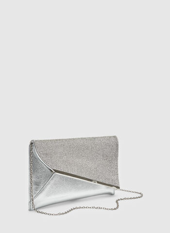 Crystal Embellished Clutch, Silver, hi-res