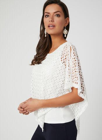 Crochet Poncho Top, White, hi-res