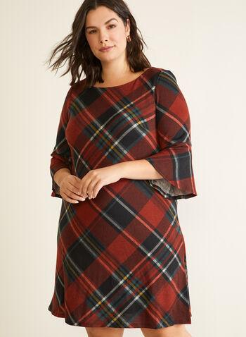 Tartan Print Bell Sleeve Dress, Red,  dress, day, tartan, boat neck, knit, fall winter 2020