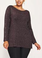 Long Sleeve Lurex Knit Tunic, Black, hi-res
