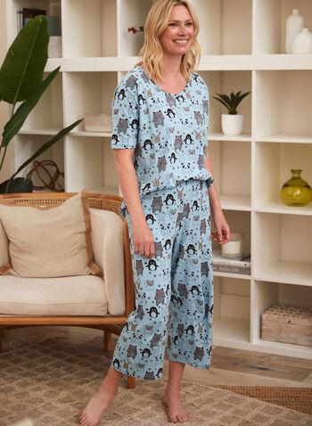 Animal Print Pyjama Set, Blue,  spring summer 2021, made in Canada, sleepwear, pj, pyjama, set, tee, capris, pull-on, elastic waist, cotton, animal print