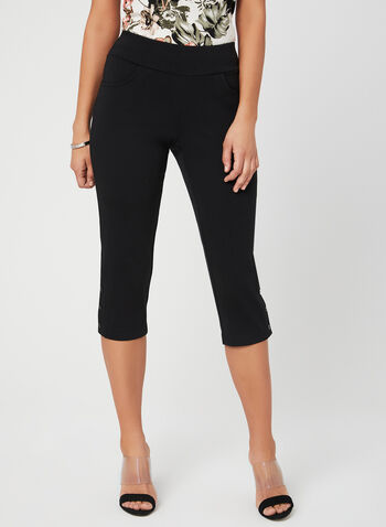 Picadilly - Capri Pants, Black, hi-res,  Picadilly, Canada, cotton, pull-on, elastic waist, spring 2019