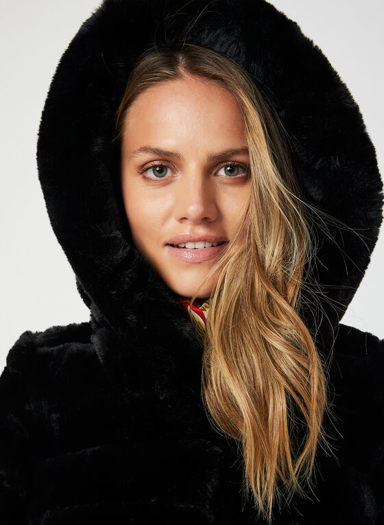 Reversible Hooded Coat, Black, hi-res