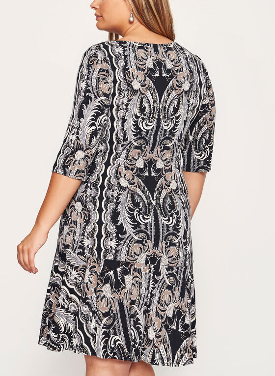 Paisley Print Ruffle Hem Dress, Brown, hi-res
