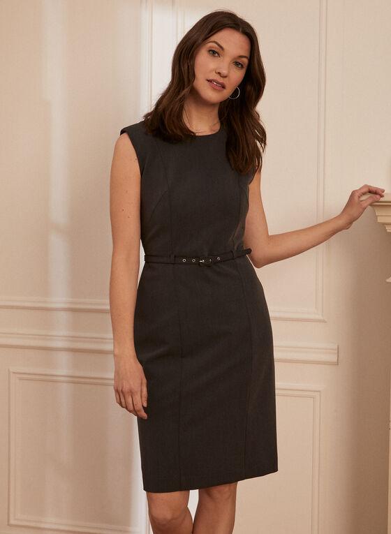 Separate Ways - Sleeveless Belted Dress, Grey