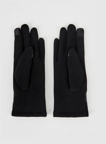 Mink Pompom Detail Gloves, Black, hi-res