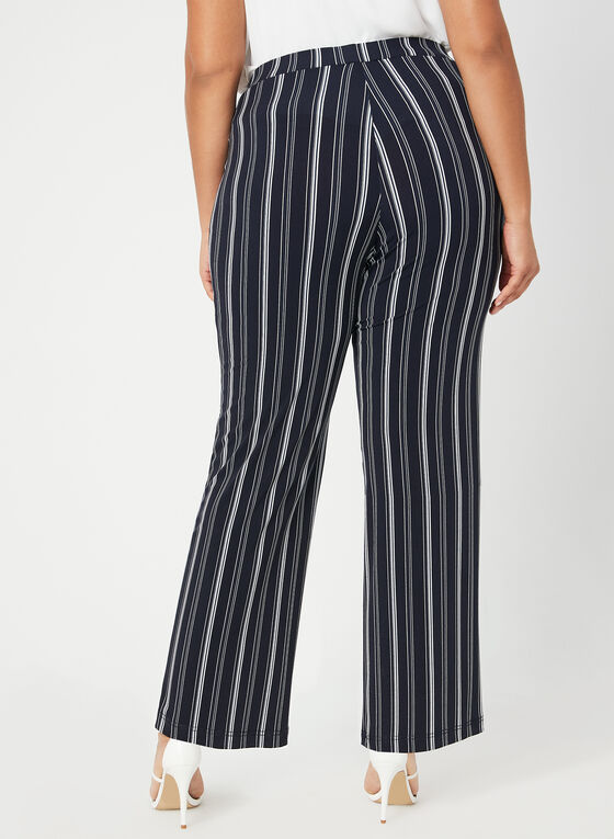 Stripe Print Wide Leg Pants, Blue
