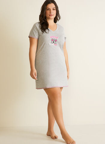 V-Neck Nightshirt, Grey,  fall winter 2020, sleepwear, nightshirt, nightgown, pyjamas, holiday, holidays 2020
