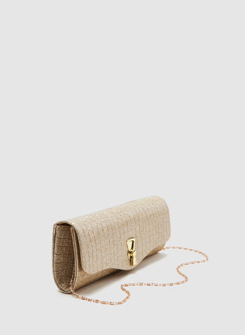 Textured Glitter Clutch, Gold, hi-res