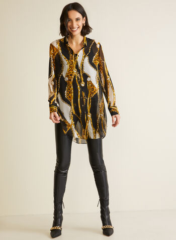 Chain Print Tunic, Black,  Fall winter 2020, prints, patterns, chain, leopard, muslin, tunic
