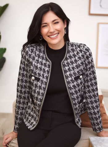 Houndstooth Print Pearl Detail Jacket, Black,  fall winter 2020, jacket, houndstooth, pearl, open front, metallic