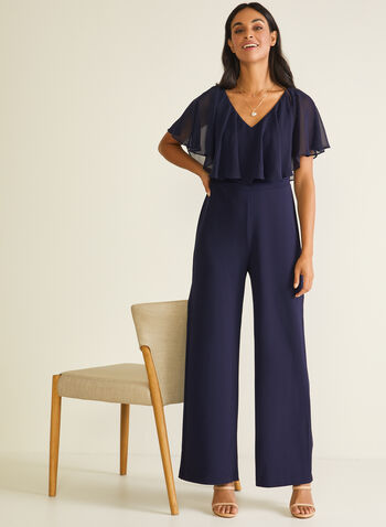 Crepe & Chiffon Poncho Jumpsuit, Blue,  jumpsuit, poncho, crepe, stretchy, chiffon, wide leg, spring summer 2020