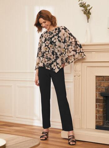 Floral Print Poncho Blouse, Black,  top, poncho, asymmetrical, floral, chiffon, 3/4 sleeves, spring summer 2021