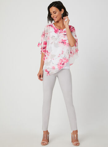 Asymmetric Poncho Top, White, hi-res,  blouse, poncho blouse, chiffon, jersey, spring summer 2019