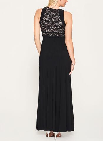 Glitter Lace Bodice Jersey Dress, Black, hi-res