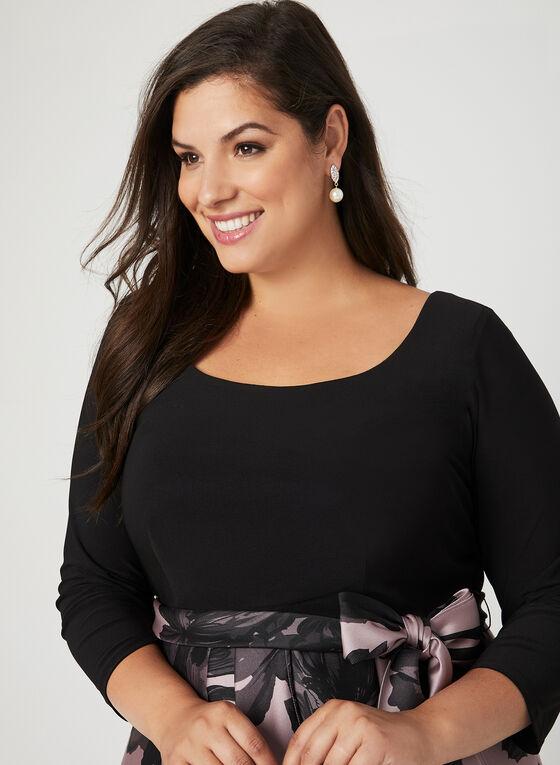 Robe avec jupe fleurie et ceinture-ruban, Noir, hi-res