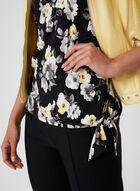 Asymmetrical Floral Print Top, Black, hi-res