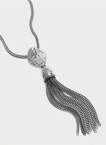 Spiga Chain Tassel Pendant Necklace, Silver, hi-res