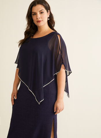 Crystal Detail Poncho Dress, Blue,  Spring summer 2020, poncho overlay, jersey fabric, crystal details