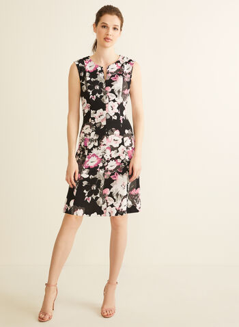 Fit & Flare Floral Print Dress, Black,  dress, day dress, cocktail dress, floral print, printed dress, flower print, scuba dress, spring dress, summer dress, spring 2020, summer 2020