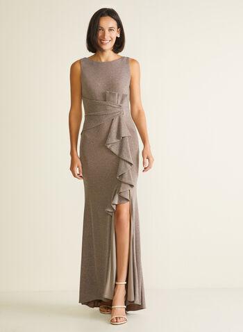 Robe sirène en fibres métallisées, Brun,  robe de soirée, sans manches, fibres métallisées, col dégagé, cascade, sirène, automne hiver 2020