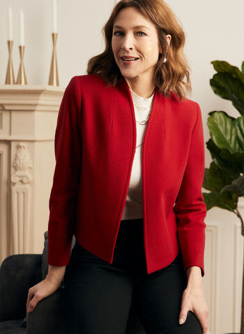 Louben - Cashmere Open Front Jacket, Red,  jacket, cashmere, open front, 3/4 sleeves, fall winter 2020