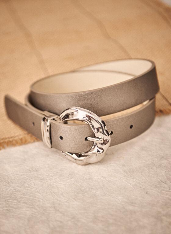 Hammered Buckle Belt, Grey