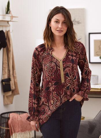 Paisley Print Tunic Blouse, Black,  top, blouse, tunic, long sleeves, paisley, v-neck, fall winter 2020