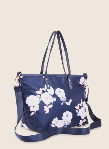 Sac fourre-tout motif floral, Bleu,  sac à main, fourre-tout, fleur, zip, printemps été 2020