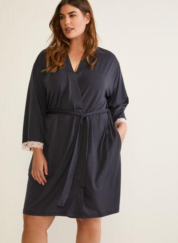 Peignoir à détails de dentelle, Gris,  automne hiver 2020, peignoir, robe de chambre, pyjama