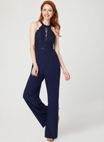 Glitter Lace Cleo Neck Jumpsuit, Blue, hi-res