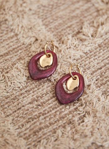 Resin Dangle Earrings, Purple,  accessories, earrings, dangle, resin, teardrop, metal insert, fall winter 2021