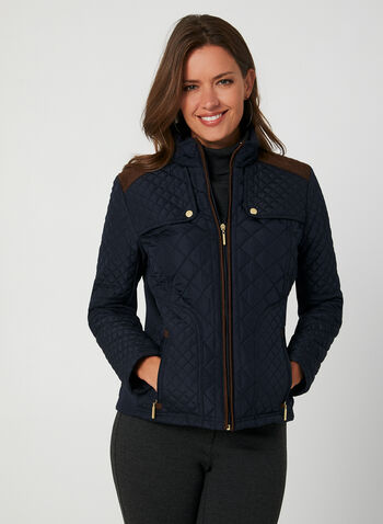 Weatherproof - Quilted Coat, Blue, hi-res,  coat, quilted, weatherproof, contrast, zipper, pockets, stand collar, long sleeves, fall 2019