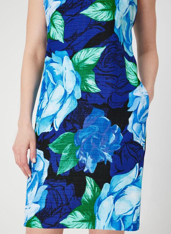 Sleeveless Floral Print Shift Dress, Blue, hi-res