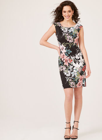 Floral Print Scuba Sheath Dress, Black, hi-res