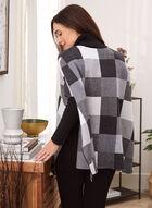 Checkered Print Turtleneck Poncho, Black
