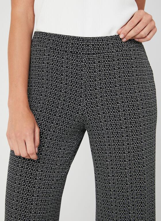 Pantalon coupe moderne à motif abstrait, Noir, hi-res