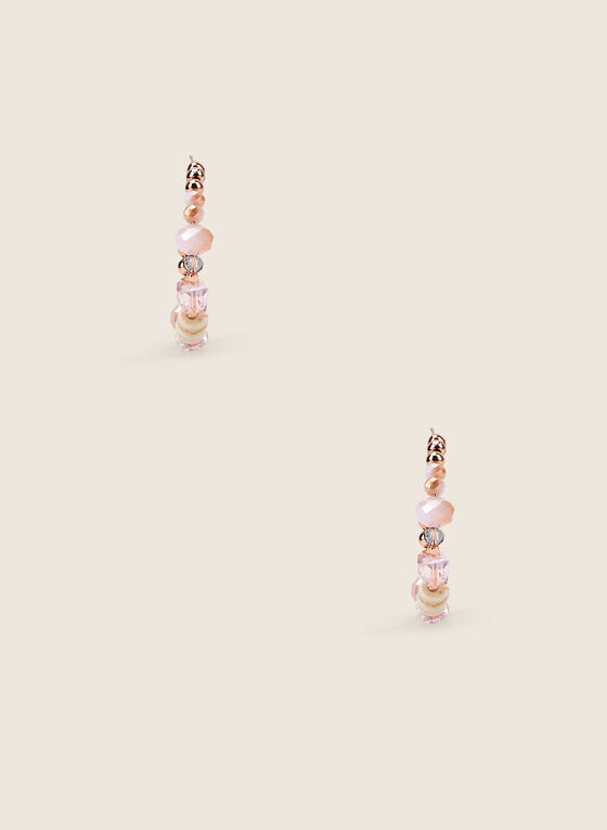 Beaded Open Hoop Earrings, Pink