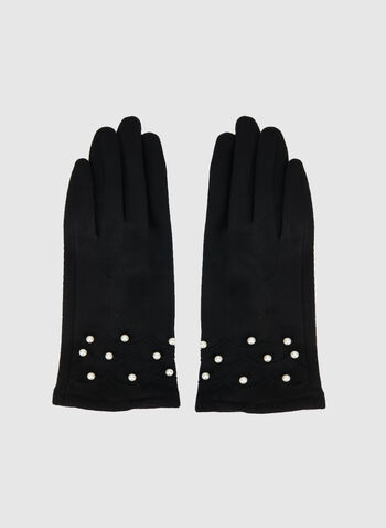 Pearl Cuff Faux Suede Gloves, Black,  gloves, pearls, faux suede, winter 2019, fall 2019