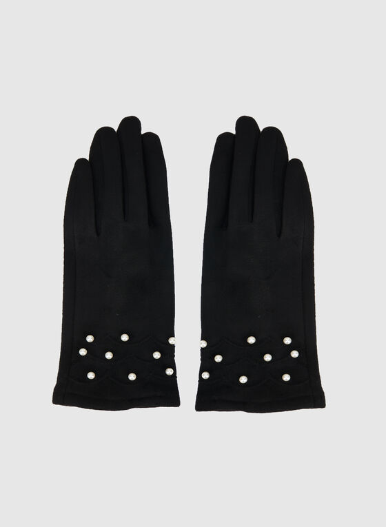 Pearl Cuff Faux Suede Gloves, Black