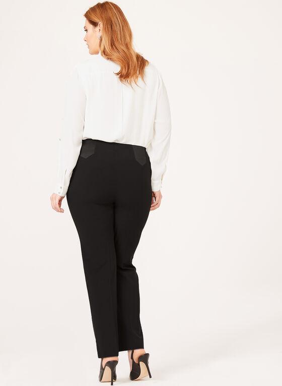 Pantalon coupe cité à jambe droite et détails élastiques, Noir, hi-res