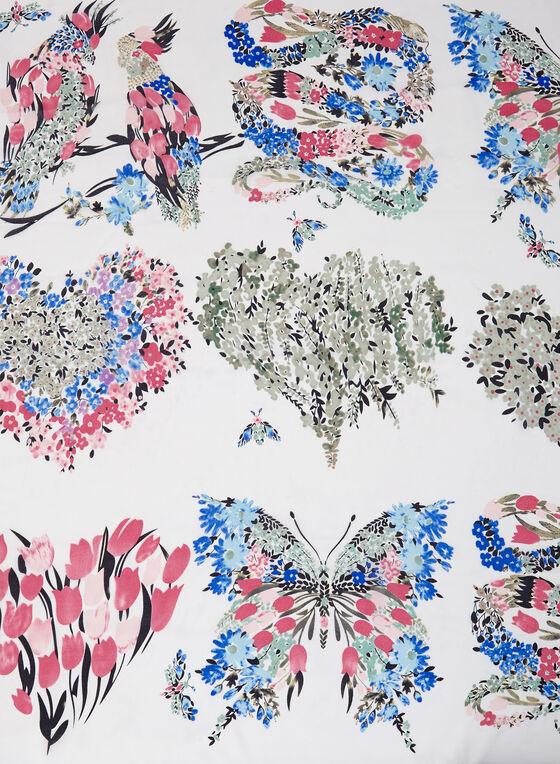 Foulard fleuri en mousseline de soie, Blanc, hi-res