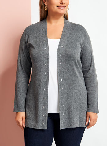 Long Sleeve Studded Edge Cardigan, Grey, hi-res