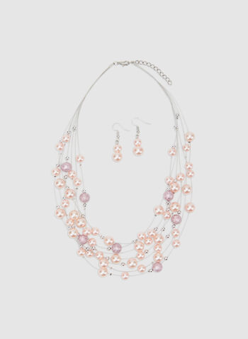 Collier à rangées de perles, Rose, hi-res