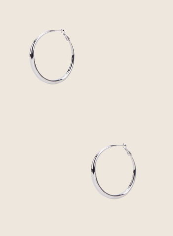 Metallic Hoop Earrings, Silver,  earrings, jewellery, accessories, silver, metallic, hoop, spring summer 2020